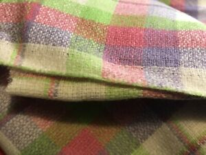 Vintage Lavender, Pink & Lime Green Plaid Wool/wool Blend Fabric 2 Yds X 56""