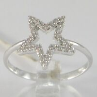 Anillo de Oro Blanco 750 18 CT, Estrella con Zirconia, Made IN Italy