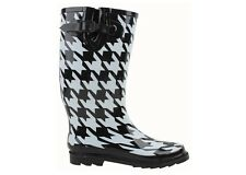 LADIES RUBBER RAIN BOOTS BLACK WHITE PRINTED 5 6