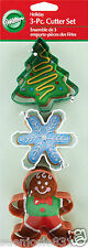 Christmas Snowflake Gingerbread Boy Tree Holiday Cookie Cutters 3pcs Wilton