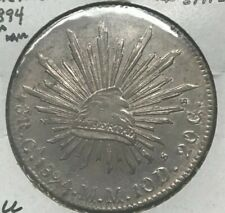 1894 Ca MM Mexico 8 Reales - Nice AU - Cap and Rays - Chihuahua Mint