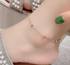 """Women Titanium Stainless Steel Rose Gold Bead Chain Anklet Bracelet 8.6-10.5"""""""