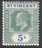 St Vincent 1902 green/blue 5/- crown CA mint SG84