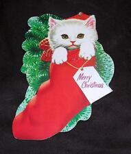 "Vtg 1960'S Die Cut Litho Paper Ovr Cardboard 8"" Xmas Cat N Stocking For Package"