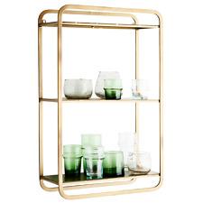 Wall Hung 3 Tier Gold Brass Shelf, Contemporary Modern Shelving Display Unit