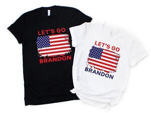 NEW! Let's Go Brandon USA Flag Patriotic Conservative Support Trump T-shirts