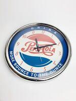 RARE Vintage Pepsi Cola Soda Pop Gas Station Clock Sign~TESTED Works