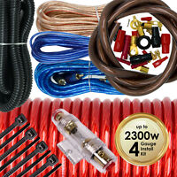 2300W SX 4 Gauge Amp Kit Amplifier Install Wiring Complete 4 Ga Car Wires Red