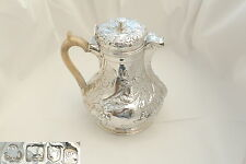 RARE EDWARDIAN HM STERLING SILVER EMBOSSED COFFEE POT 1902