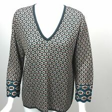 M MISSONI Charcoal/Beige/Teal Textured Wool Knit V-Neck Sweater IT 50 US 14