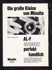 3w2777/ Alte Reklame von 1969 - MINOLTA AL-F - Die große Kleine von Minolta.