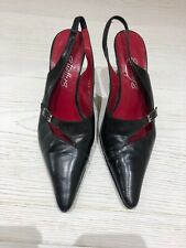 Black Leather Strappy Shellys Ladies Stiletto Shoe With Buckle Detail, Size 3/36