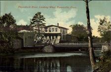 Forestville CT River & Bldg c1910 Postcard