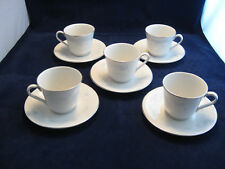 "Royal Doulton 1976 ""Bedford"" Fine China Set of 5 Cups & Saucers Blue Ylw & White"