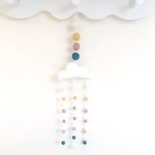 Pastel cloud mobile. My first room. Cloud nursery decor. Organic Nursery. Felt