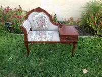 Vintage Mid Century  Gossip Bench With Tapestry Back Rest