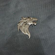 1x Metal Glossy Black Wolf Left Head Emblem Sticker Badge Premium 3D Limited 4wd