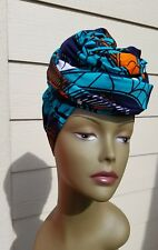 Teal & Orange Head wrap;TealAfrican Headwrap; African Clothing; African Fabric