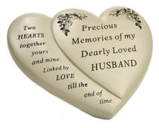 Husband Double Heart Flower Graveside Memorial Ornament Tribute Verse Plaque