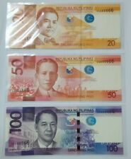 2014 PHILIPPINES 20, 50 & 100 PISO UNC @ Solid No.666666