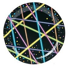 OUTER SPACE Vivid Light Show Party Lunch Dinner Plates Disposable Plate Pk of 8