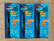 3 Maxell Disc Marker Permanent Disc Writer Cd P1 Black Marker By Maxell