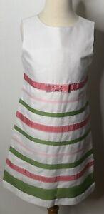 Gymboree White Pink Green Striped Ribbon Shift Dress Sz 9 NWOT