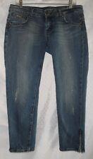 REROCK Skinny Crop Pants,Blue Designer Distressed Jeans,Ankle Zipper,Size 30