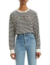 LEVIS WOMENS LONG SLEEVE STRIPE TEE BLACK AND WHITE RAINBOW EMBROIDERED SIZE M