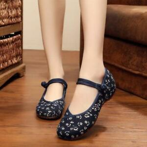 Womens Retro Mary Jane Shoes Floral Pumps Chinese Buckle Comfort Casual Flats