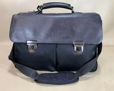 "Hugo Boss Black 16"" Nylon   Leather Briefcase Messenger Bag 522613ed2b6f6"
