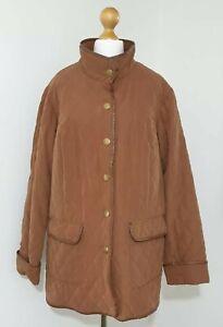 DAXON Brown Quilted Coat Jacket Size UK-18  Pockets Press Stud Funnel Neck VGC
