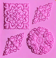 Lace Designs 4 Cavity Silicone Mold for Fondant, Gum Paste, Chocolate, Crafts