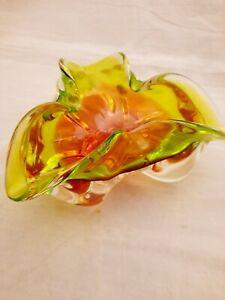 Sommerso Chribska green & pink freeform art glass bowl dish 1.6kg (4c)