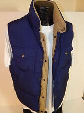 POLO Ralph Lauren Men REVERSIBLE Khaki NAVY Blue DOWN Filled WINTER SNAP Vest M