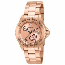 Invicta 14734 Women's Angel Rose Gold Dial Rose Gold Steel Bracelet Dive Watch