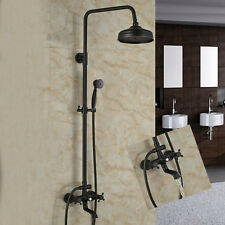 "Oil Rubbed Bronze 8"" Round Shower Faucet Tub Spout Hand Shower Mixer Tap Sprayer"
