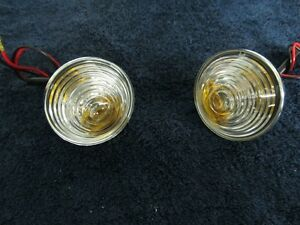 FITS JEEP 1955-1968 CJ5 C101 JEEPSTER BEEHIVE CLEARFRONT TURN SIGNAL LAMPS PAIR
