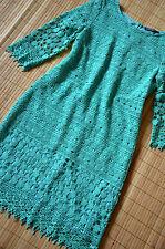 HALLHUBER DONNA schönes Etuikleid Kleid Gr. 42 UK 14 neu Häkelspitze Opal Grün