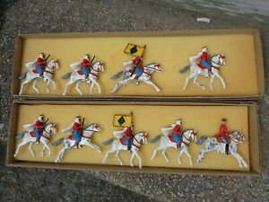 Dorset, French Colonial Cavalry - Spahi's, Arab horse lot of 9, 54mm lead, JJ