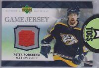 Peter Forsberg 2007-08 UD Series One Game Jersey Nashville Predators J-PF