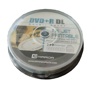 INKJET Printable 10 Mirror DVD+R Dual Layer DVD Blank Discs on Spindle DL NEW