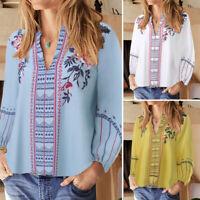 ZANZEA UK Women Floral Print Lantern Sleeve Long Shirt Tops Casual Loose Blouse