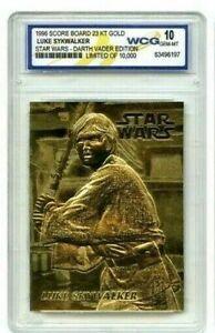"""STAR WARS """"LUKE SKYWALKER"""" LIMITED EDITION GEM-MT 10 """"23 KT GOLD CARD! 1/10,000!"""