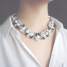Statement Silver Necklace Pearl Collar Blue Jewel Floral Choker Chunky Bib