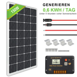 150W 12V Solar Panel Kit Mono System Battery Charger Controller Camping RV Boat