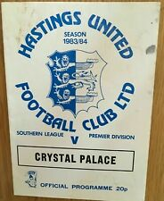 More details for hastings united v crystal palace pre season friendly 1983/84
