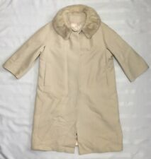 Vintage Anglo Fabrics Womens Beige Wool Coat With Fur Collar See Measurements M