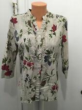 Coral Bay Womens Button Floral Blouse Cotton M