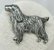 Vintage Cocker Spaniel Dog Brooch Silver Tone Pin Texture Detail Dogs